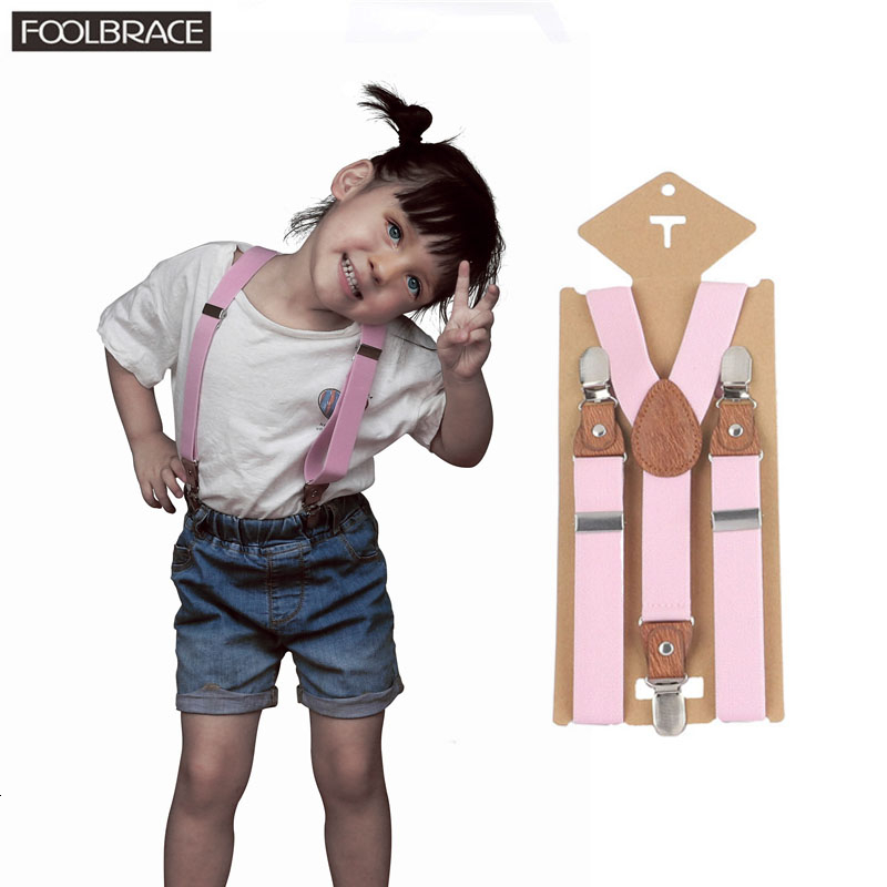 Ring Bear Boys Suspenders Kids Vintage Brown Suspenders Leather For Pants Brace Baby Suspenders Button Tirantes Para Bebe