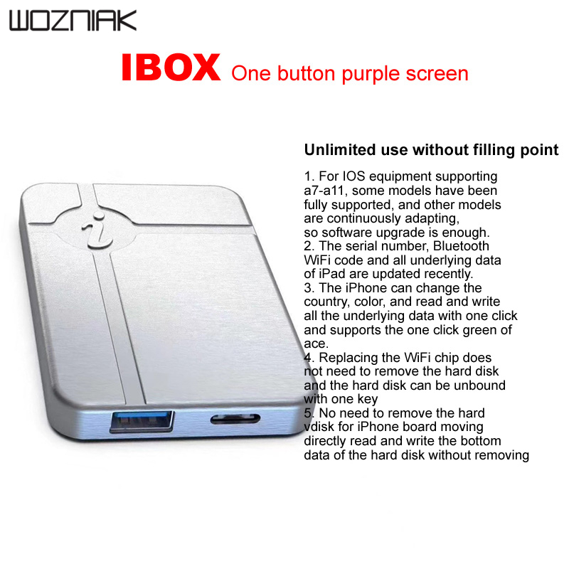 IBox hiçbir sökme gerekli HDD okuma yazma değiştirmek seri numarası IPHONE A7 A8 A9 A10 A11 IPAD programlama IP kutusu 3