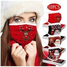 Masque de noël jetable pour adultes, lot de 10 pièces, multi-imprimés, respirant, 3 couches