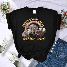 Apoie sua rua local gatos imprimir topos feminino hip hop solto t camisa moda respirável casual topos personalidade o-pescoço roupas
