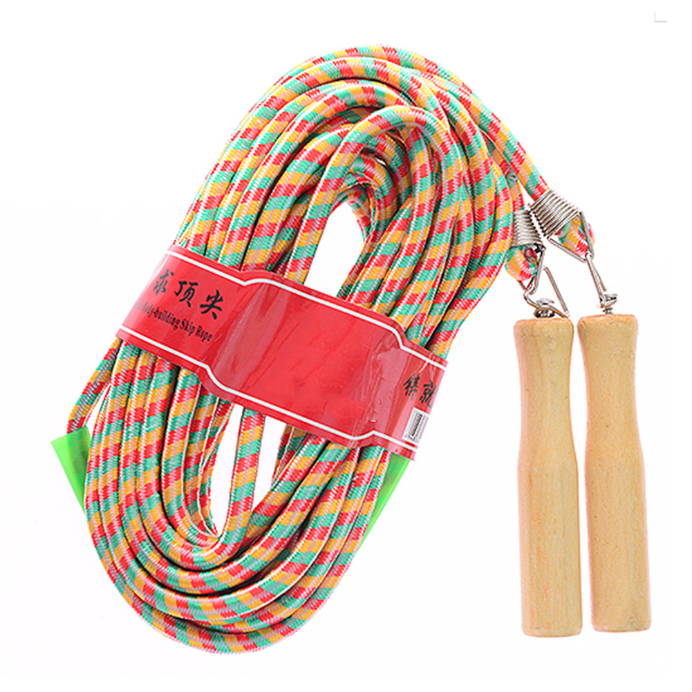 Hot Selling Fitness Jump <font><b>Ropes</b></font> With Wood <font><b>Handle</b></font> Long <font><b>Skipping</b></font> <font><b>Rope</b></font> For Multiplayer Group Teamwork Sports Game 3/5/7/9m image