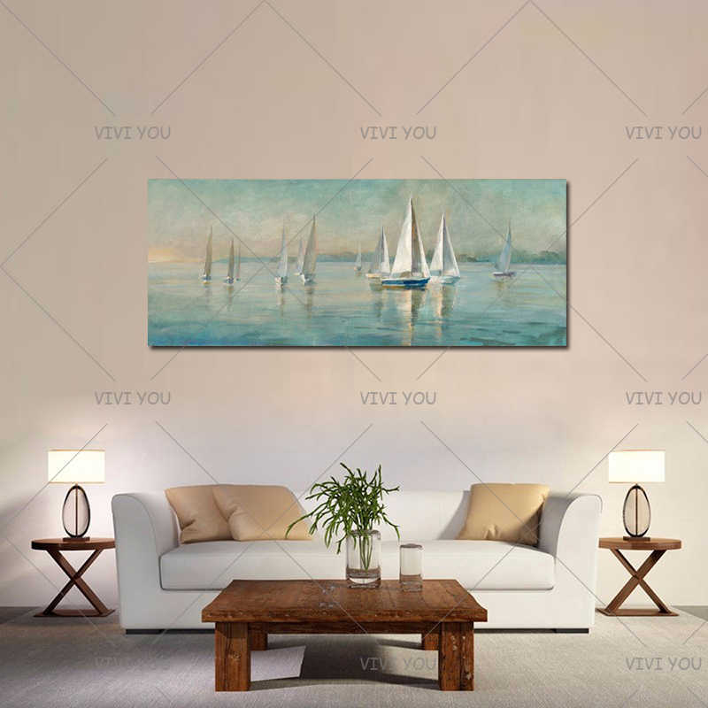 Modern Home Decor Wall Art Picture Hand Painted Sailboat Oil Painting On Canvas Handmade Acrylic Abstract Landscape Paintings