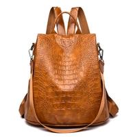 Women Leather Backpacks High Quality 2019 Female Vintage Crocodile Backpack Travel Shoulder Bag School Bags for Girls B110