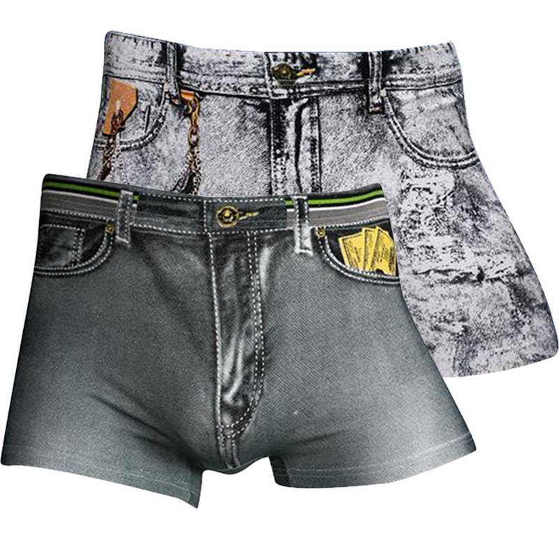Men 3D Jeans Print Boxers Fashion Sexy Breathable Underwear Casual High Elastic Soft Thin Comfortable Short Pants