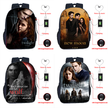 Twilight USB Charge Bag Students School Backpack Beautiful Laptop Bags Edward Cullen Daily Backpack for Boys Girls Travle Bag