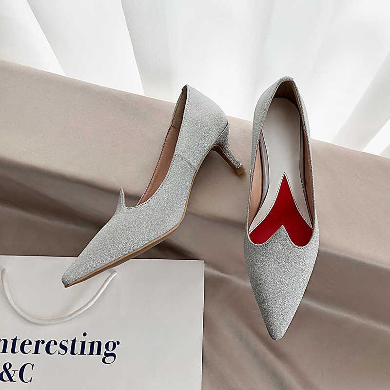Da Cừu Chất Lượng Hàng Đầu Thả Tàu Người Phụ Nữ Giày Cao Gót Bơm Kim Sa Lấp Lánh Tacones Zapatos De Mujer Cột Dây Femme Nữ Giày Cưới