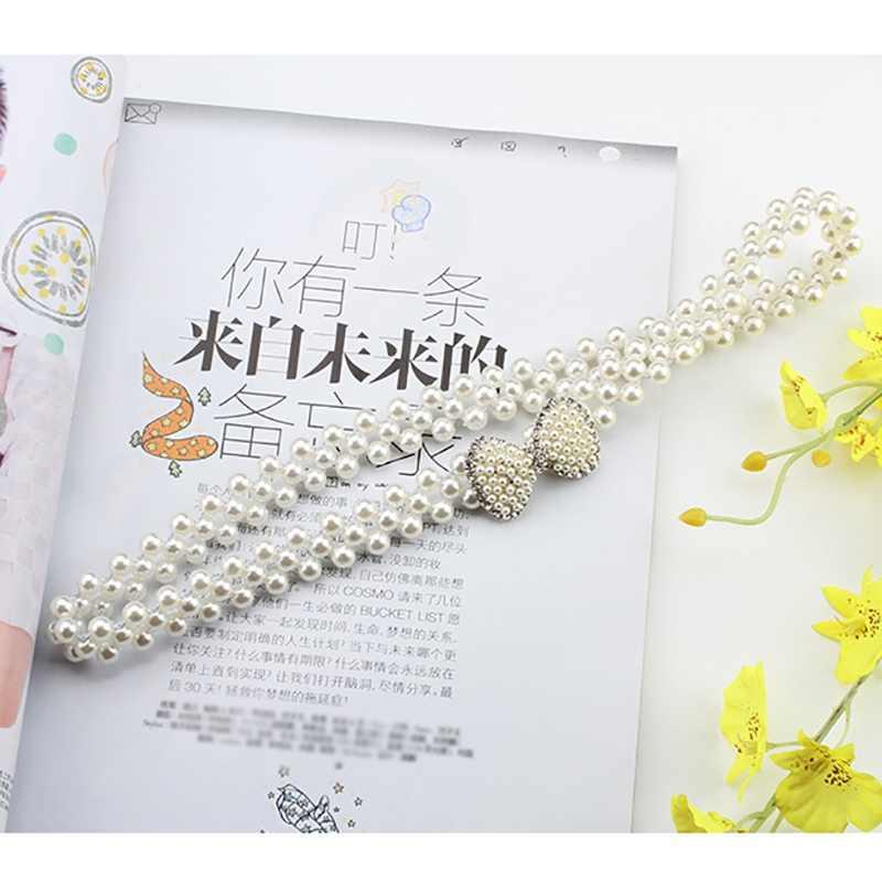 Mulheres elegantes pérola cinto de cintura fivela elástica pérola corrente cinto feminino meninas vestido cinta cristal multi estilos