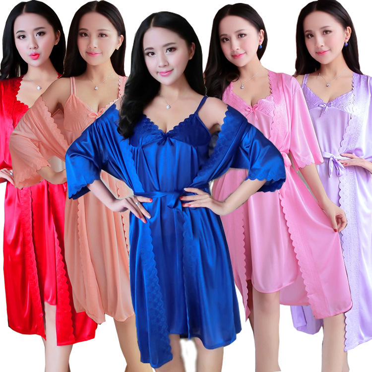 Summer Imitated Silk Pajamas Women's Viscose Nightgown Sexy Two-Piece Set Short Sleeve Sexy Cute Home Wear