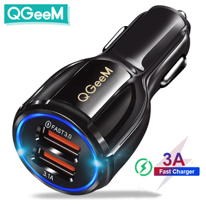 Image 1 - QGEEM Dual USB QC 3.0 Car Charger Quick Charge 3.0 Phone Charging Car Fast Charger 2Ports USB Portable Charger for iPhone Xiaom