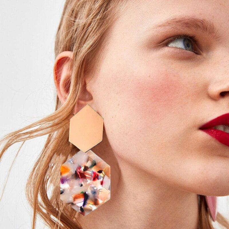 Wood Trendy Earrings for Women 2019 Exaggeration Flower Korean Statement Big Round Drop Earrings Women Jewelry for girl Gifts