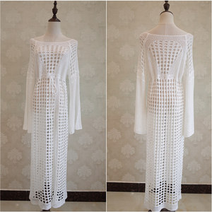 Image 4 - 2020 Crochet Tunic Beach Dress Cover ups Summer Women Beachwear Sexy Hollow Out Knitted Swimsuit Cover Up Robe de plage #Q716