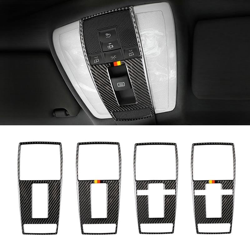 For Mercedes Benz C E Class W204 W212 2010 2011 2012 Carbon Fiber Car Interior Front Reading Light Frame Cover Sticker Trim