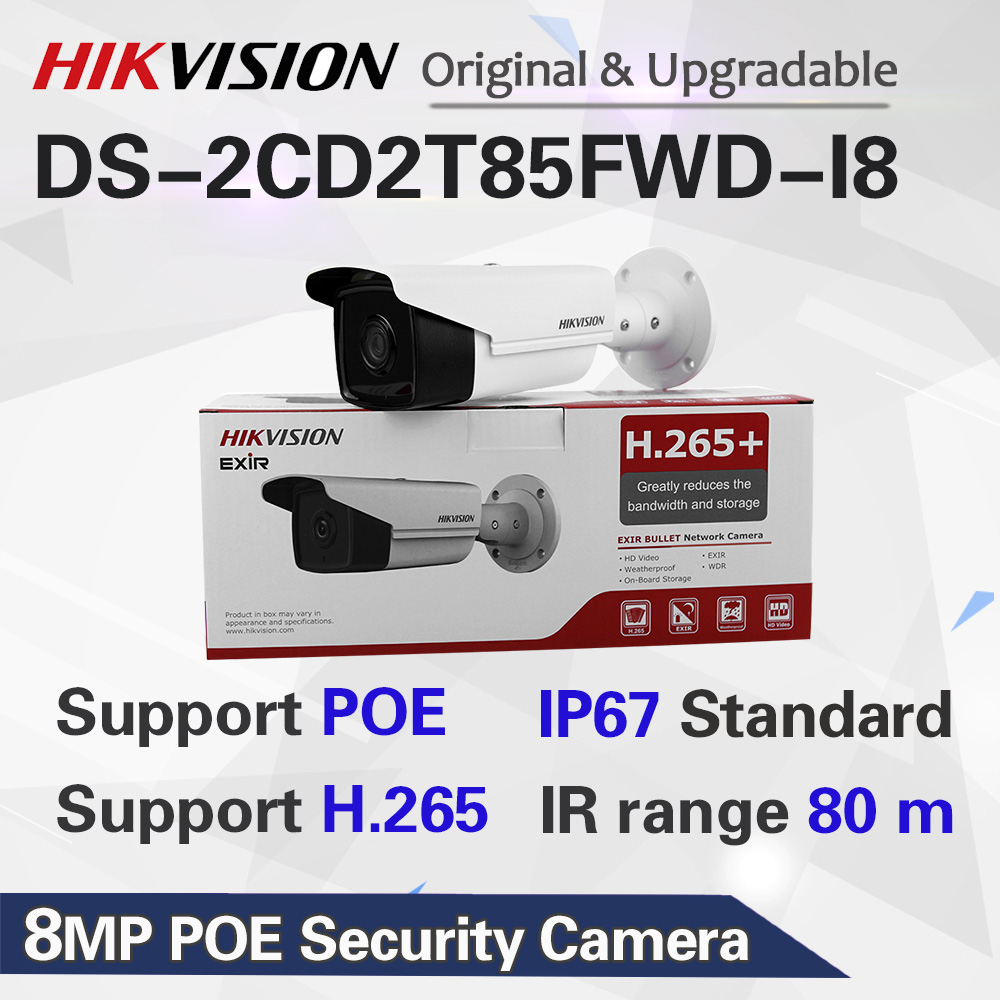 Hikvision 8MP 4K Bullet IP Camera PoE Outdoor Night Vision IR Distance 80M CCTV Security Surveillance H.265 DS-2CD2T85FWD-I8
