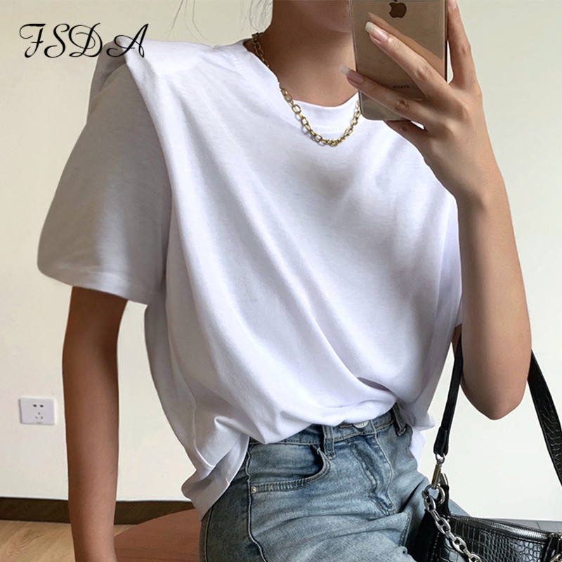 FSDA 2020 Summer Short Sleeve T Shirt Basic Women White Casual O Neck Tee Streetwear Elegant Loose Sexy Top Shirts Ladies(China)