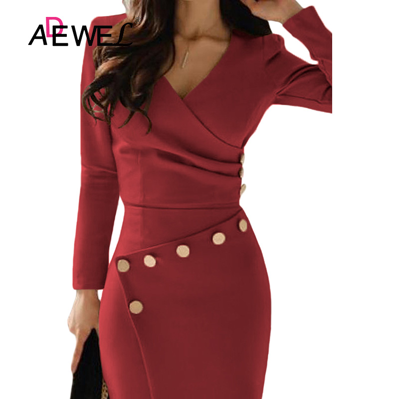 ADEWEL Button Detail White Ruched Bodycon Office Work Dress Women Long Sleeve V-Neck Party Midi Gown Dress 12