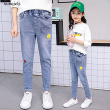 Autumn Spring Girl Jeans New Baby Clothes Kids Teenager Denim Girls Casual Trousers Children Girl Long Pants 4-11year цена 2017