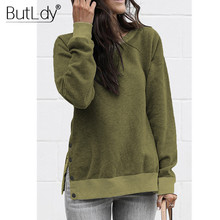 Two Side Split Button Fashion Loose Casual Sweatshirt for Women Autumn Winter 2019 Green Gray Hoodie Female Hoodies
