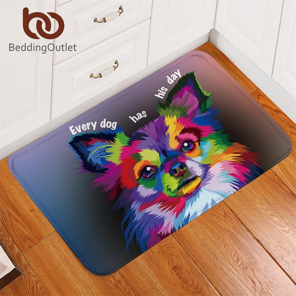 BeddingOutlet Pet Dog Carpet Kids Room Watercolor Art Play Mat Lovely Pomeranian Non-slip Soft Rug Colorful Doormat 40x60cm