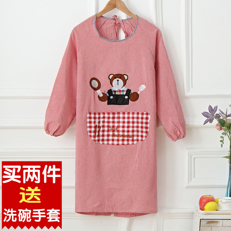 Korean-style Fashion Long Sleeve Apron Adult Work Clothes Cute Protective Clothing Pure Cotton Overclothes Kitchen Waterproof Oi