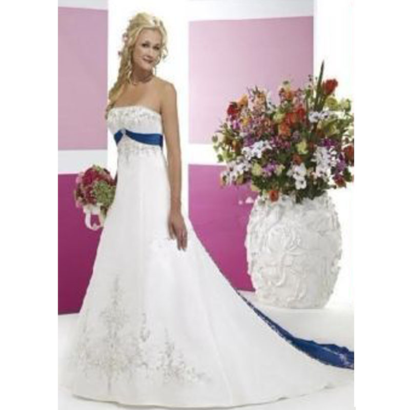 Plus Size Vestidos De Novia 2019 new fashion White Blue embroidery silk satin blue belt Chapman Wedding Dresses Abiti Da Sposa