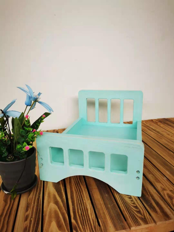 Retro Wooden Bed Accessories Baby Photography Studio Prop Newborn Infant Basket Background Posing Photo Shoot Detachable Crib