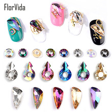FlorVida 5pcs Nail Art Rhinestones Set Strass Crystal Gems Round Square 3D Decorations for Nails Studs Acrylic Glass Manicure