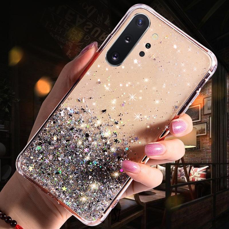 Luxury Glitter Star Case For Samsung Galaxy A70 A50 A10 A20 A30 A60 A80 A90 A20S A10S A20E Note 10 9 8 S10 S9 S8 Plus S10E Cover - Цвет: Transprent
