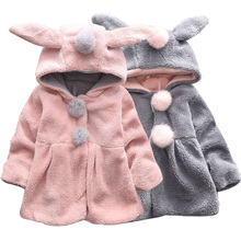 Jacket Baby Sweater Winter Rabbit Autumn Cute And Hooded Ears Wool Warm Thick Cartoon