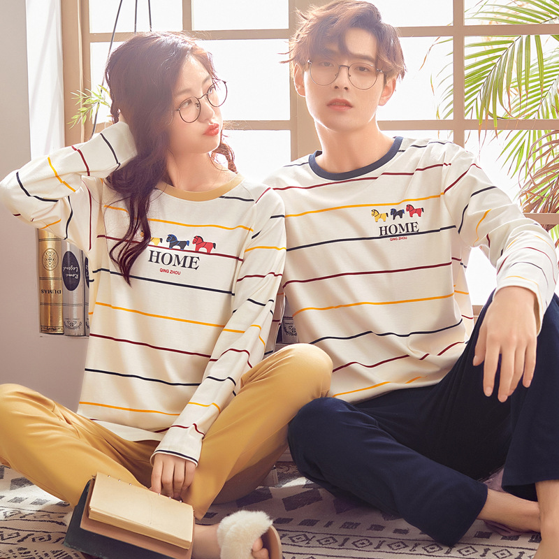 Autumn Pajamas For Couples Cotton Simple Striped Couple Pajama Suit Soft And Comfortable Men's Leisure Home Clothing Large Size