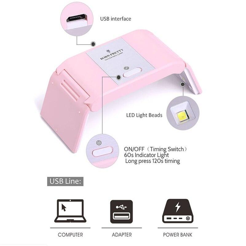 לקפל 24W UV מנורת 12 נוריות נייל מנורת מיני LED UV אמנות לק USB מתקפל יבש אור 12 LED ג 'ל ציפורניים ייבוש כלי