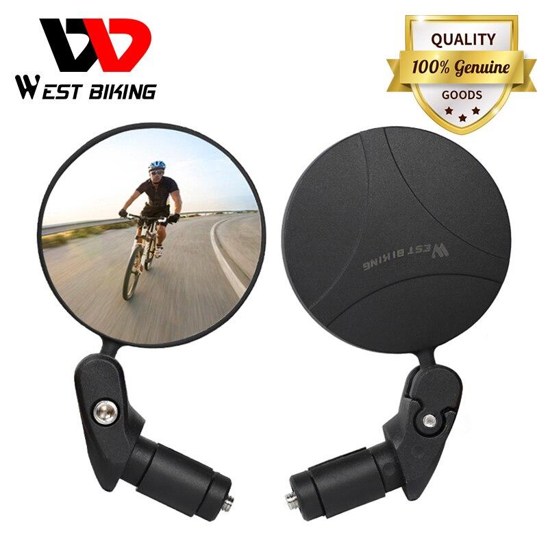 WEST BIKING-espejo retrovisor para bicicleta, rotación de 360, ángulo amplio ajustable, para ciclismo de montaña o carretera