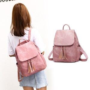 Image 5 - Pink Vintage Backpack Women Back Pack Leather Bag Tassel Female Bagpack Student Girl Teenager Backpack Feminina 2020 sac a dos