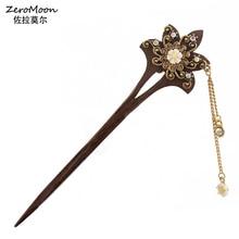 Headdress Hairpins Hair-Accessory Rhinestone Flower Wooden Crystal Bridal-Hair Women's
