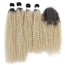 Synthetic-Hair-Bundles Closure Curly Kinky with 20-26inch 5pcs/Lot Afro African Lace