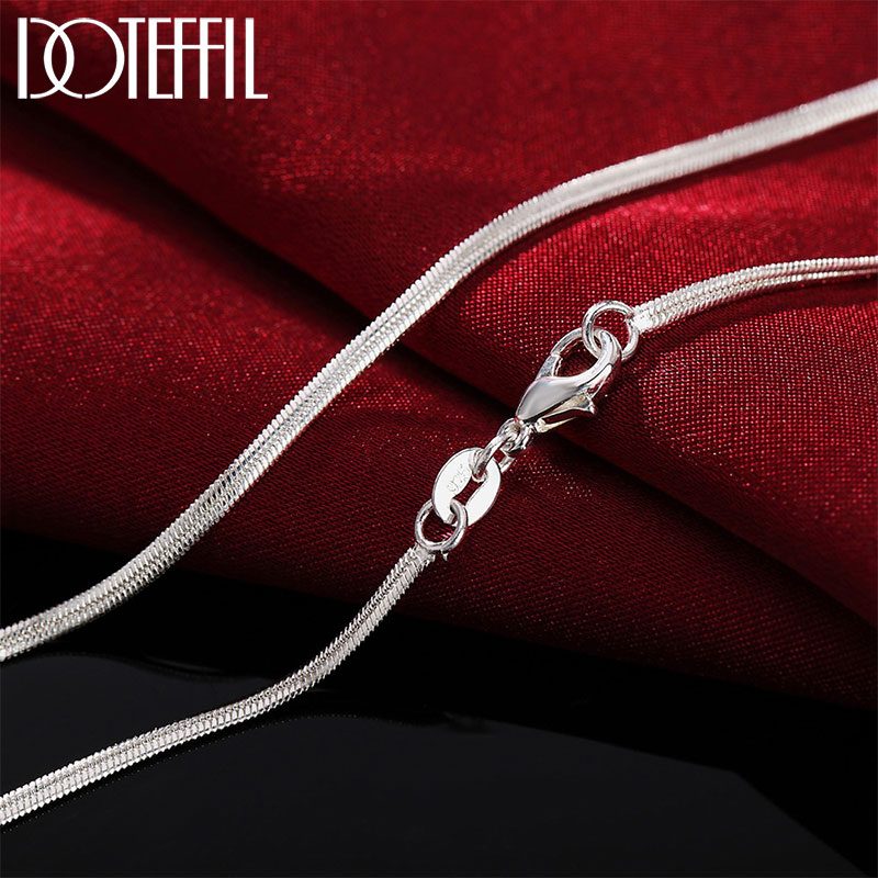 DOTEFFIL 925 Sterling Silber 16/18/20/22/24/26/28/30 Zoll 2mm Flache Schlange Kette Halskette Für Frauen Mann Mode Hochzeit Schmuck