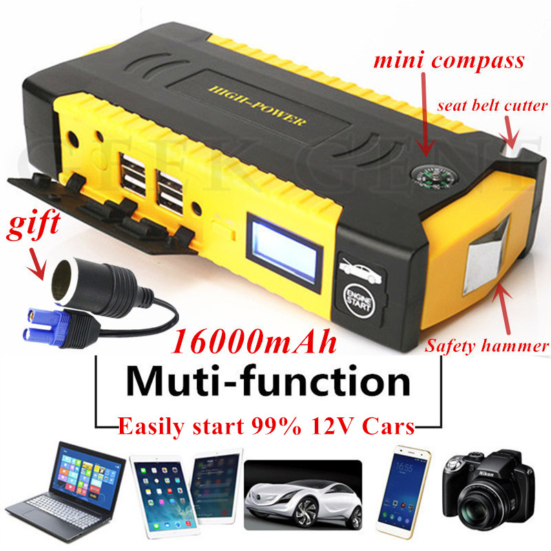 High Capacity 16000mAh Car Jump Starter 600A Starting Device Portable Power Bank 12V Car Starter For Car Battery Booster Charger-in Jump Starter from Automobiles & Motorcycles    1