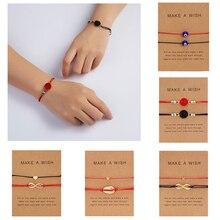 Rinhoo 2 шт простой геометрический кулон браслет из натурального камня веревка браслет с картоном модные ювелирные изделия для женщин Me