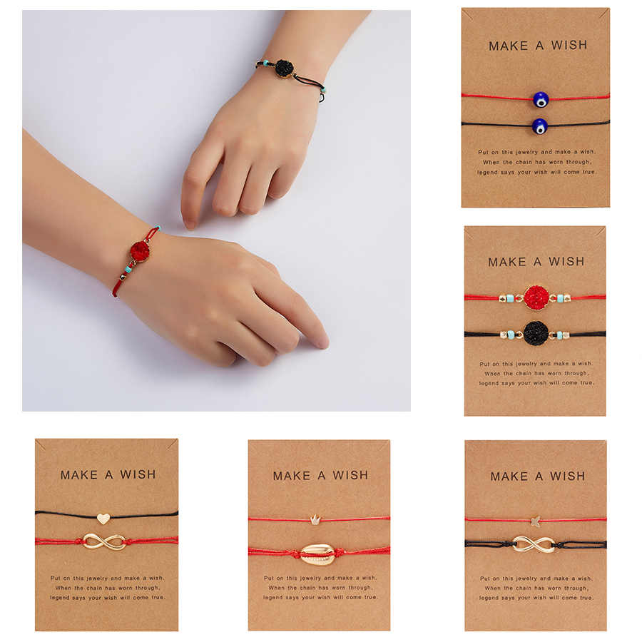 Rinhoo 2PCS Simple Geometric Pendant Bracelet Natural Stone Rope Chain Bracelet With Cardboard Fashion Jewelry For Women Me
