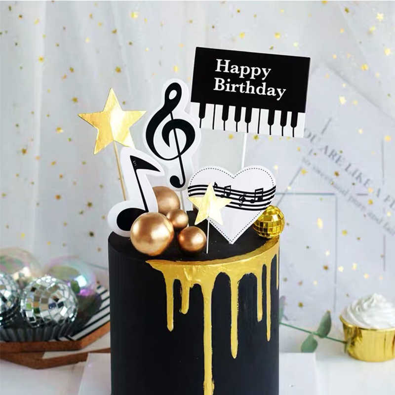 Stupendous 1Set Piano Music Theme Cake Topper Happy Birthday Cupcake Cake Funny Birthday Cards Online Alyptdamsfinfo