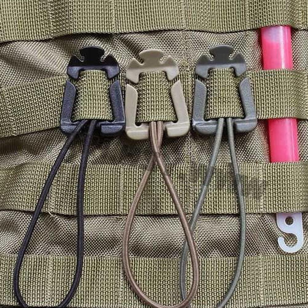EDC Gear 2Pcs/lot Molle Backpack Carabiner EDC Tool Elastic Rope Webbing Buckle Winder