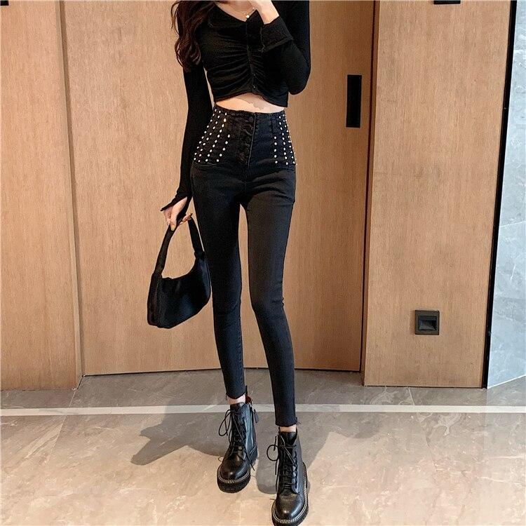 Новинка готика Рок Панк женские черные сексуальные модные женские брюки эластичные с завышенной талией и заклепками