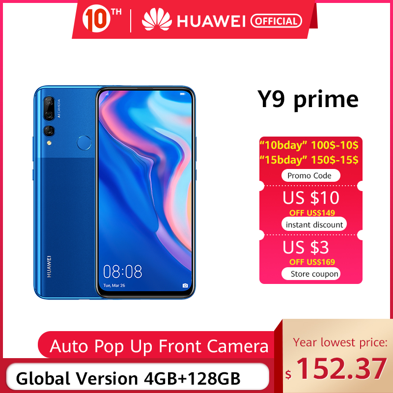 """In Stock Global Version Huawei Y9 Prime 2019 Smartphone AI Triple Rear Cameras Auto-PopUp Front Camera 6.59"""" 4GB 128GB Cellphone"""