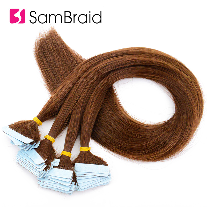 SAMBRAID Straight Hair Skin Weft 22 Inch 40 Pieces/pack Synthetic Hair Extensions Tape in Hair Pure Color Double Side Tape