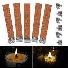 """50 шт. 12,5x75 мм древесины лампы в форме свечи Фитили поставки фитиль для velas с сустейнер вкладку """"сделай сам"""" для изготовления меха De Vela Pavio De Vela"""