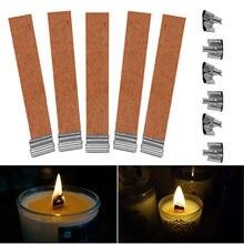 50 Uds 12,5x75mm De madera mechas para velas suministros Mecha De Vela velas con Sustentador Tab bricolaje Mecha De Vela Pavio De Vela