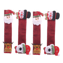 4PCS Christmas Refrigerator Door Covers Microwave Oven Dishwasher Kitchen Appliances Gloves Handle Cloth Protector
