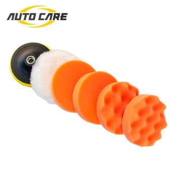 цена на 7 Inch High Gross Polishing Buffer Pad Set M14 Drill Adapter For Car Polisher 180mm Buffing Self adhesive 5Pcs Per Set
