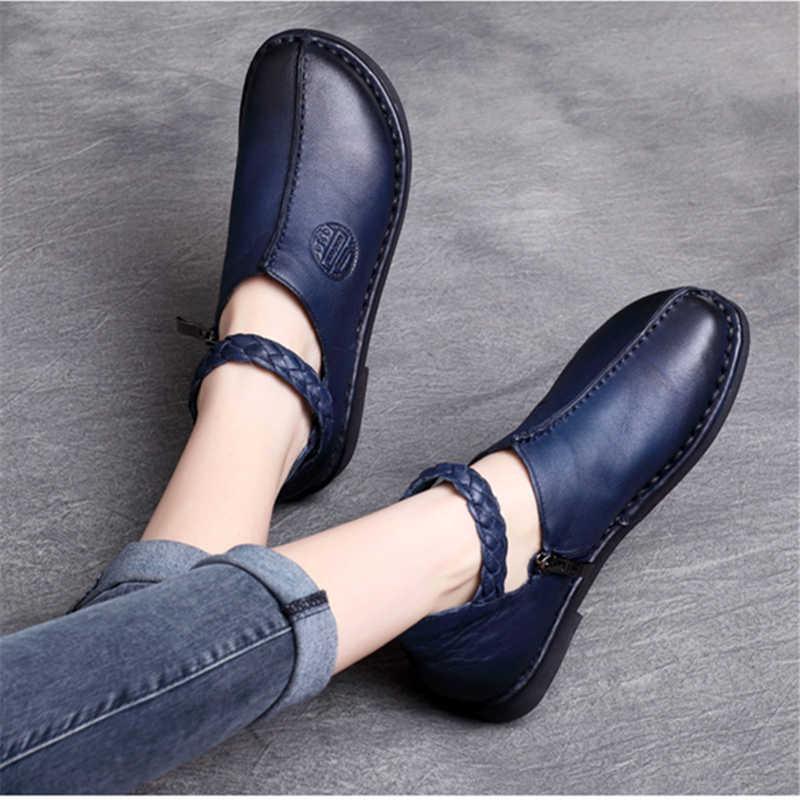 Tyawkiho Hakiki Deri Kadın Flats Ayak Bileği Kayışı Düşük Topuk Kadın rahat ayakkabılar Yumuşak Alt Retro Nakış Deri Daireler El Yapımı