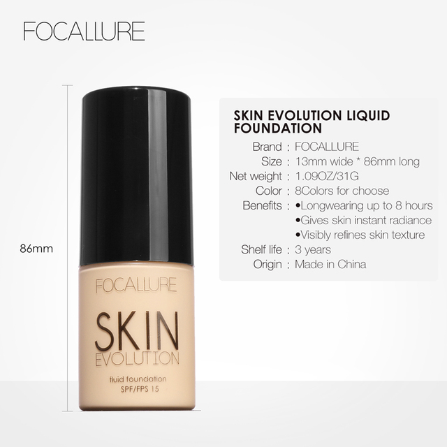 FOCALLURE Face Foundation Makeup Base Liquid Foundation BB Cream Concealer Whitening Moisturizer Oil-control Maquiagem SPF15 5