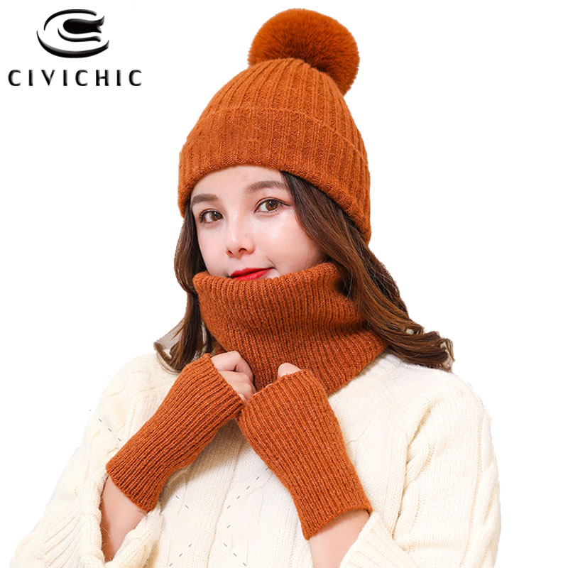 CIVICHIC Women Winter Warm Knit Scarf Hat Gloves 3 Piece Set Thick Pompon Beanies Lovely Neck Warmer Crochet Headwear Caps SH126